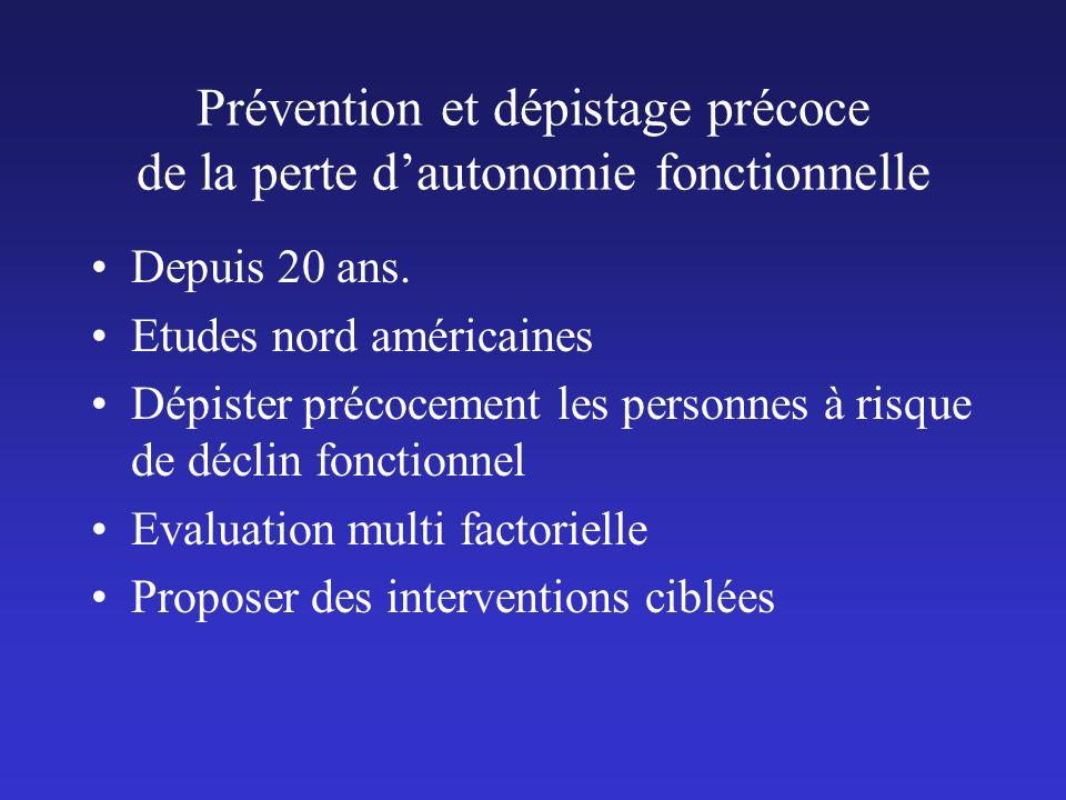 Prévention et dépistage précoce de la perte d'autonomie fonctionnelle