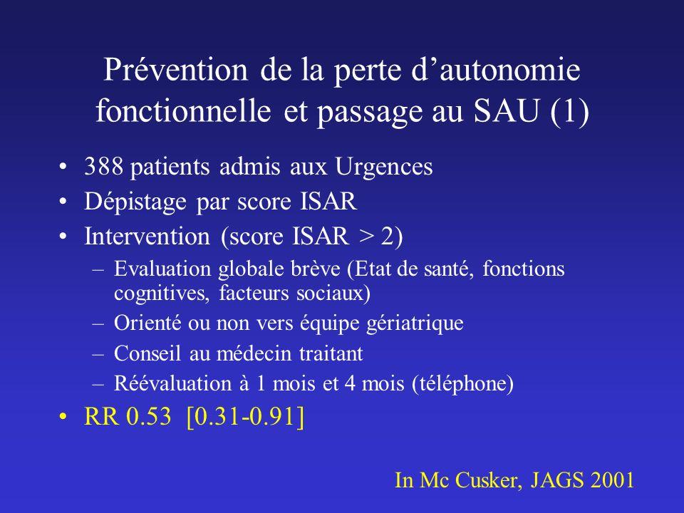 Prévention de la perte d'autonomie fonctionnelle et passage au SAU (1)