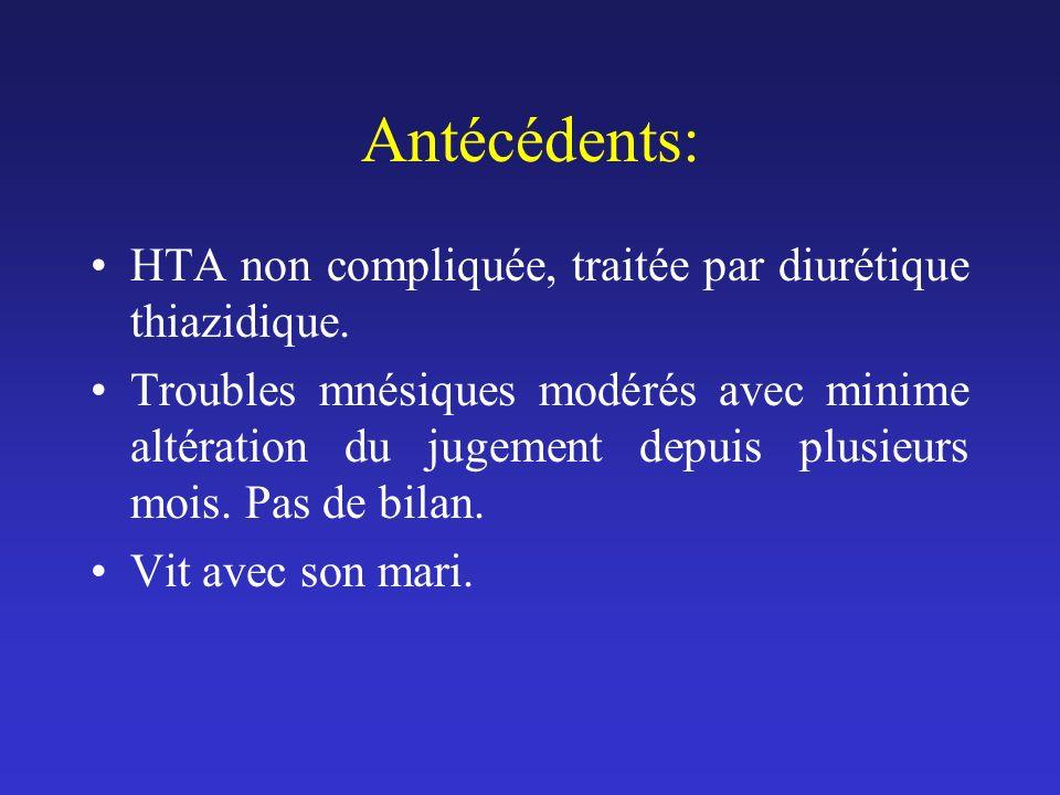 Antécédents: HTA non compliquée, traitée par diurétique thiazidique.