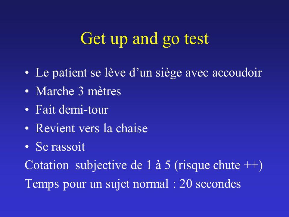 Get up and go test Le patient se lève d'un siège avec accoudoir
