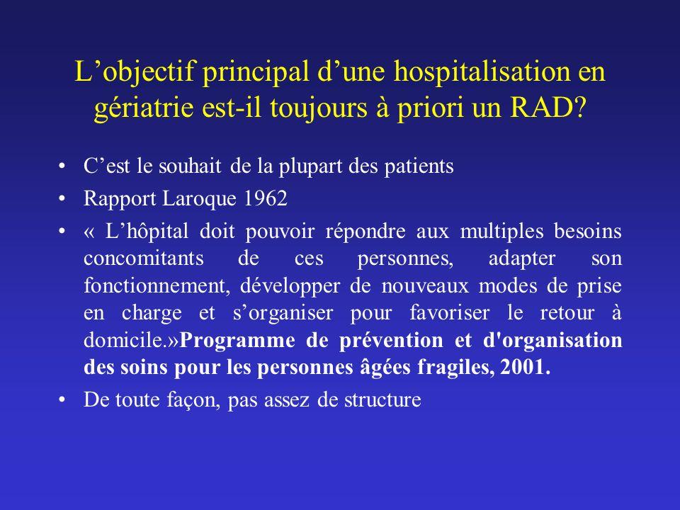 L'objectif principal d'une hospitalisation en gériatrie est-il toujours à priori un RAD