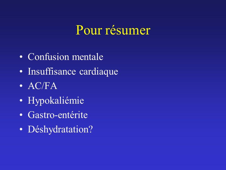 Pour résumer Confusion mentale Insuffisance cardiaque AC/FA