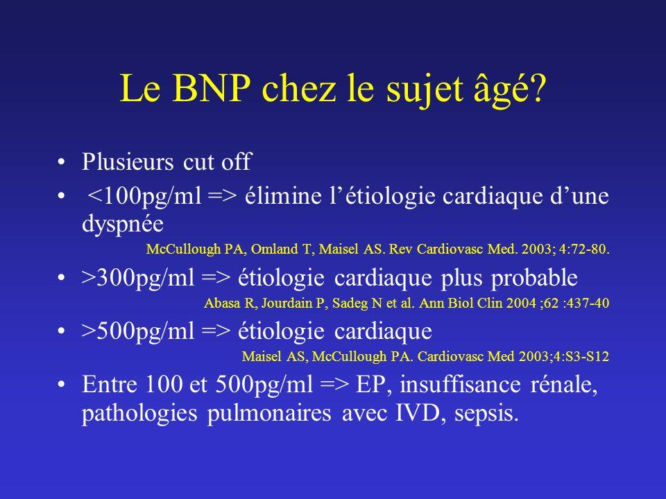 Le BNP chez le sujet âgé Plusieurs cut off