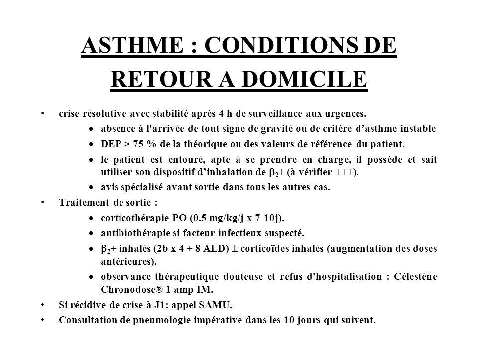 ASTHME : CONDITIONS DE RETOUR A DOMICILE