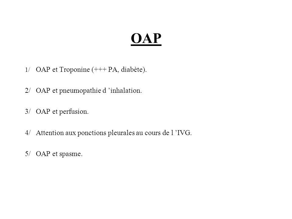 OAP 2/ OAP et pneumopathie d 'inhalation. 3/ OAP et perfusion.