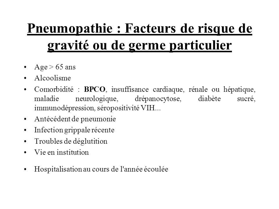 Pneumopathie : Facteurs de risque de gravité ou de germe particulier