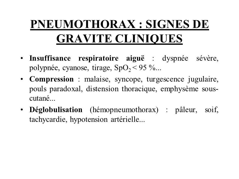 PNEUMOTHORAX : SIGNES DE GRAVITE CLINIQUES