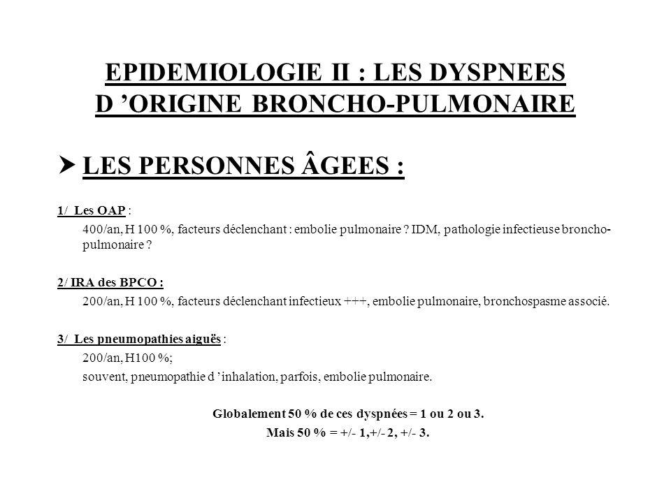 EPIDEMIOLOGIE II : LES DYSPNEES D 'ORIGINE BRONCHO-PULMONAIRE