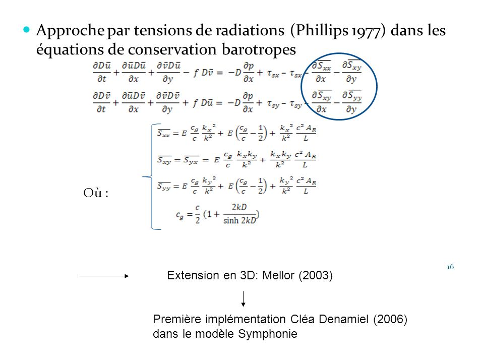 Approche par tensions de radiations (Phillips 1977) dans les équations de conservation barotropes