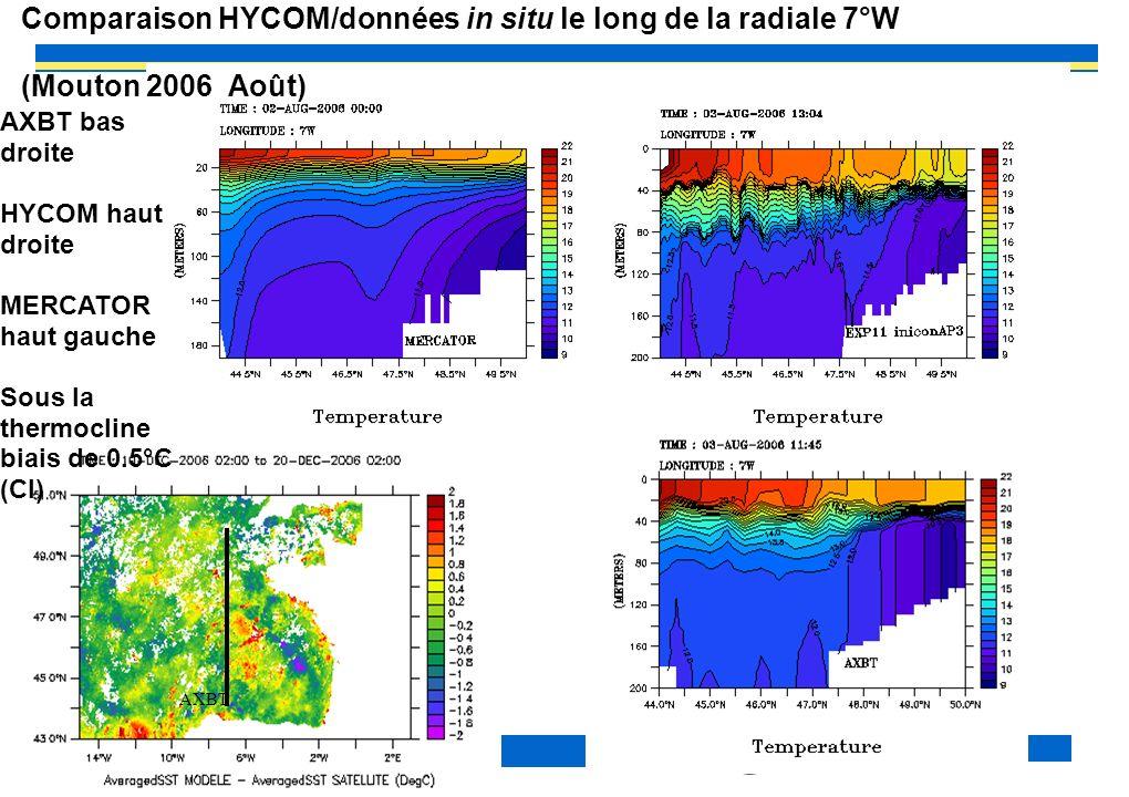 Comparaison HYCOM/données in situ le long de la radiale 7°W (Mouton 2006 Août)