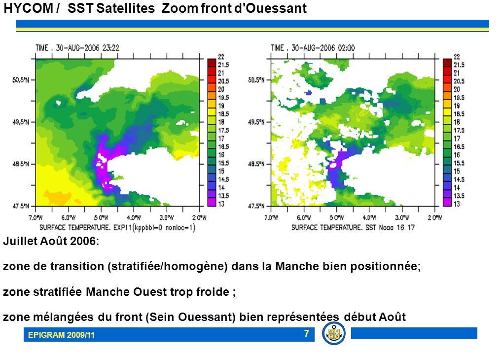 HYCOM / SST Satellites Zoom front d Ouessant