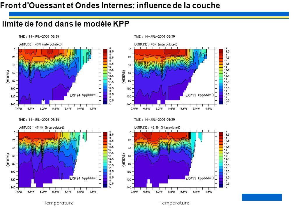 Front d Ouessant et Ondes Internes; influence de la couche