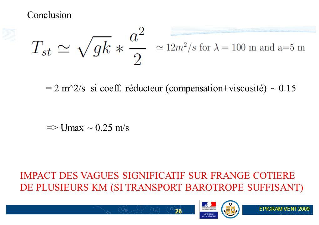 Conclusion = 2 m^2/s si coeff. réducteur (compensation+viscosité) ~ 0.15. => Umax ~ 0.25 m/s. IMPACT DES VAGUES SIGNIFICATIF SUR FRANGE COTIERE.