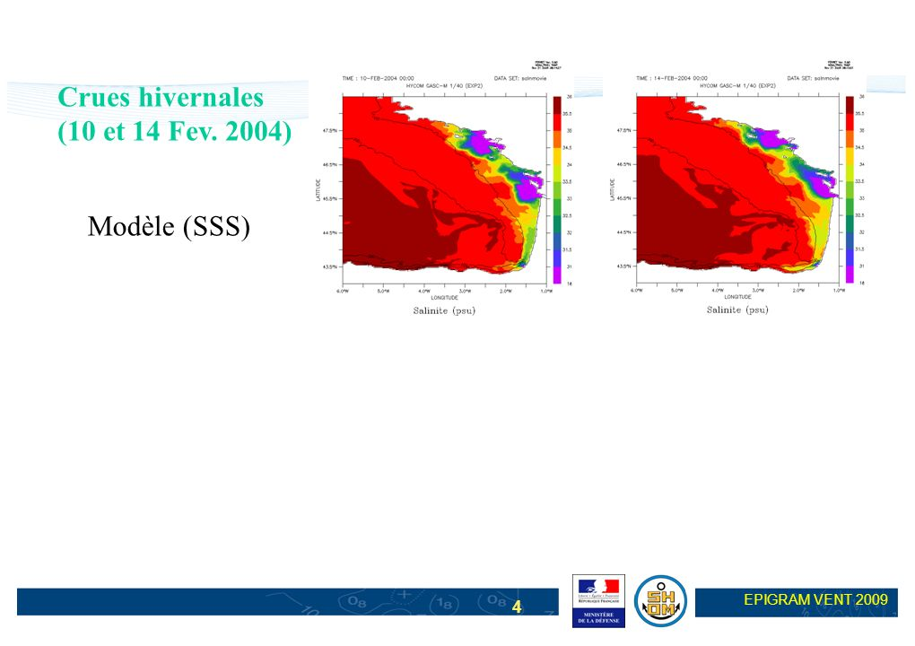Crues hivernales (10 et 14 Fev. 2004) Modèle (SSS)