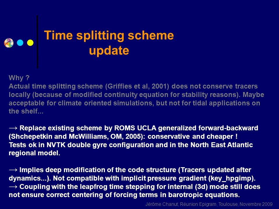 Time splitting scheme update