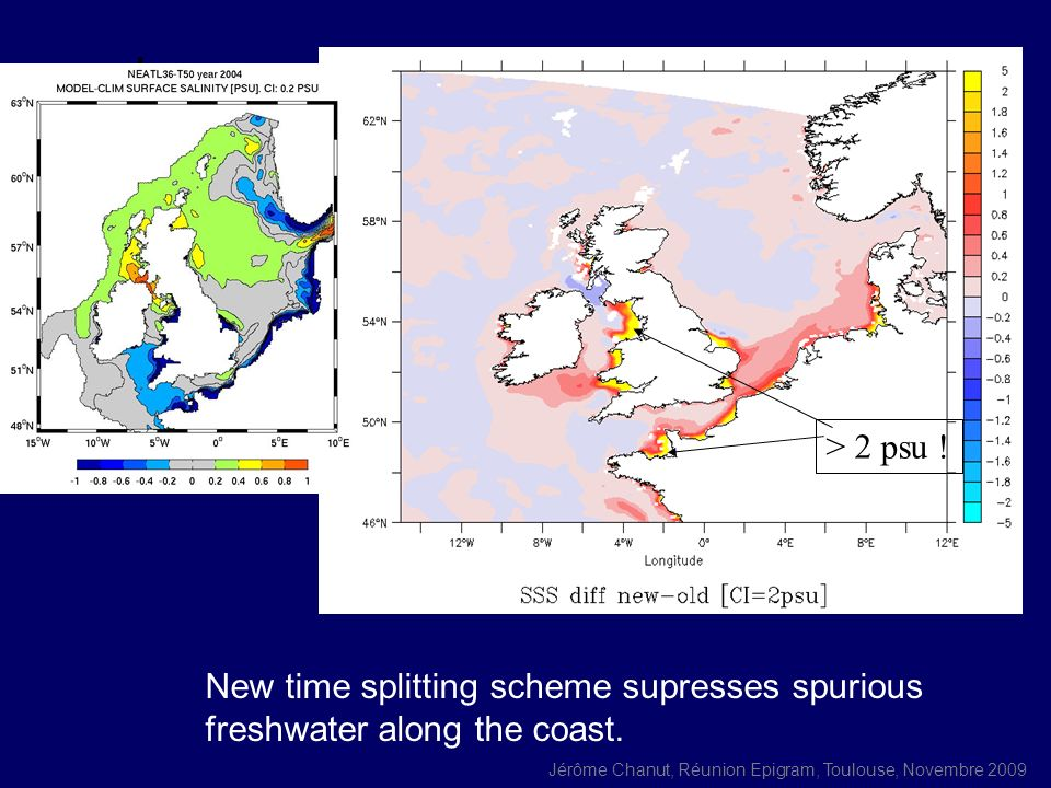 > 2 psu ! New time splitting scheme supresses spurious freshwater along the coast.