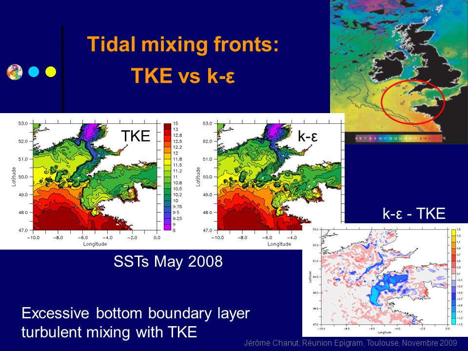 Tidal mixing fronts: TKE vs k-ε