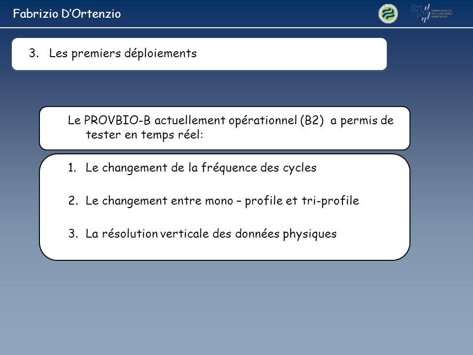 Fabrizio D'Ortenzio 3. Les premiers déploiements. Le PROVBIO-B actuellement opérationnel (B2) a permis de tester en temps réel: