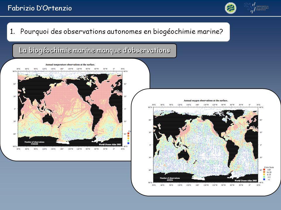 Fabrizio D'Ortenzio Pourquoi des observations autonomes en biogéochimie marine.