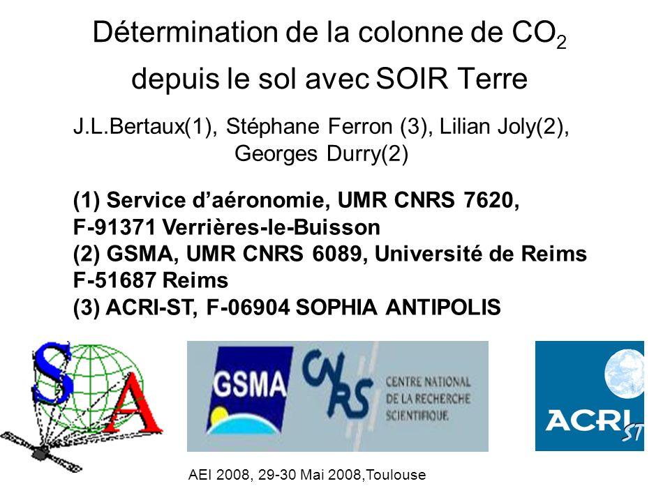 Détermination de la colonne de CO2 depuis le sol avec SOIR Terre