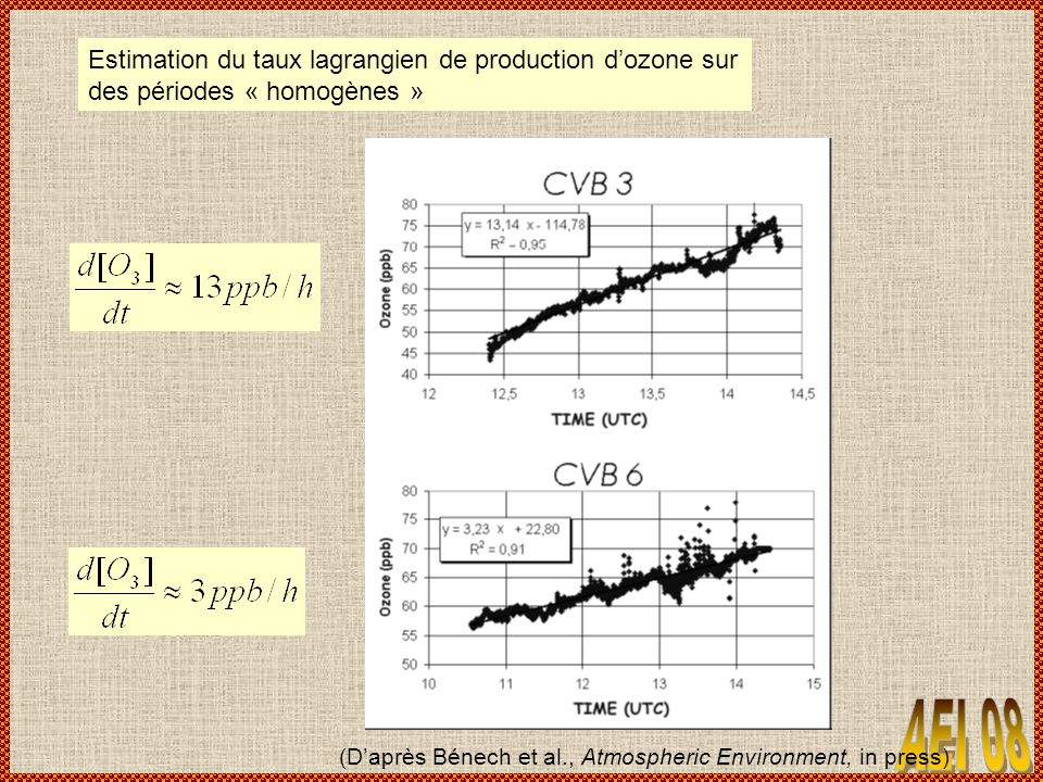 Estimation du taux lagrangien de production d'ozone sur des périodes « homogènes »