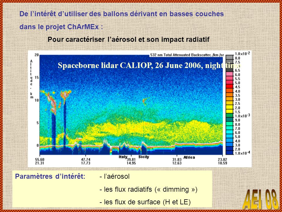 Spaceborne lidar CALIOP, 26 June 2006, night time