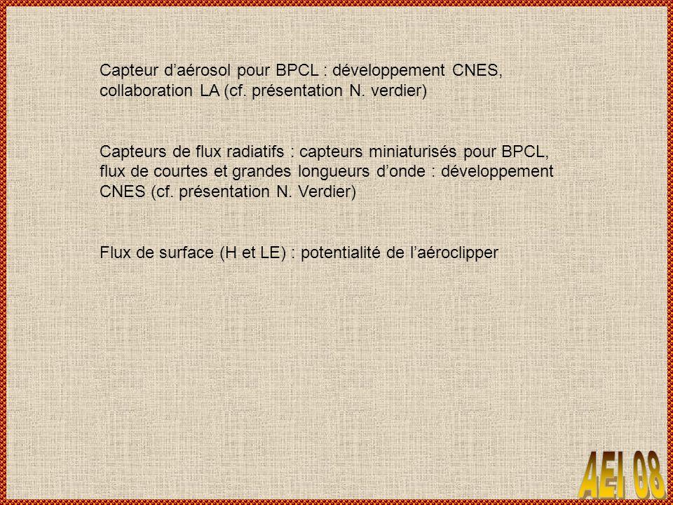 Capteur d'aérosol pour BPCL : développement CNES, collaboration LA (cf