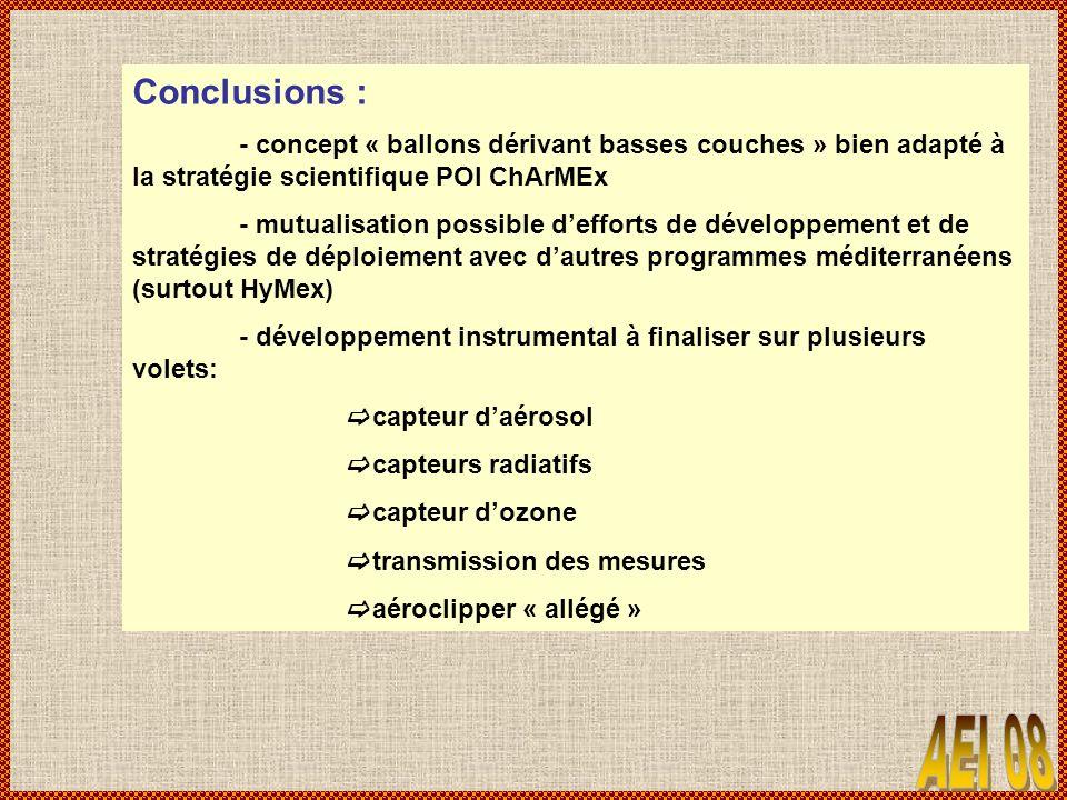 Conclusions : - concept « ballons dérivant basses couches » bien adapté à la stratégie scientifique POI ChArMEx.