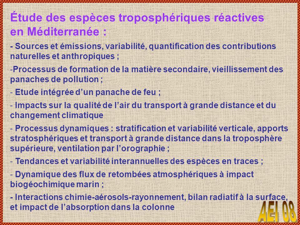 Étude des espèces troposphériques réactives en Méditerranée :