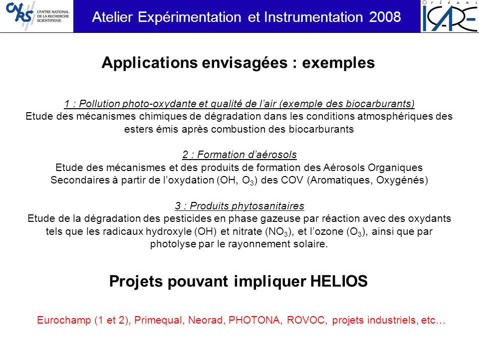 Applications envisagées : exemples Projets pouvant impliquer HELIOS