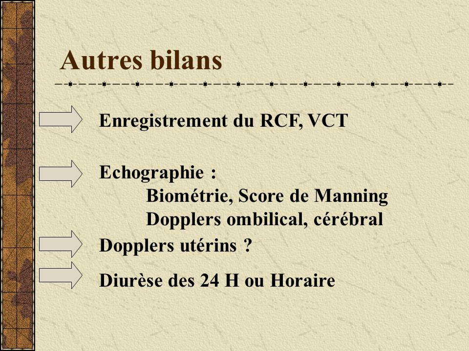 Autres bilans Enregistrement du RCF, VCT Echographie :