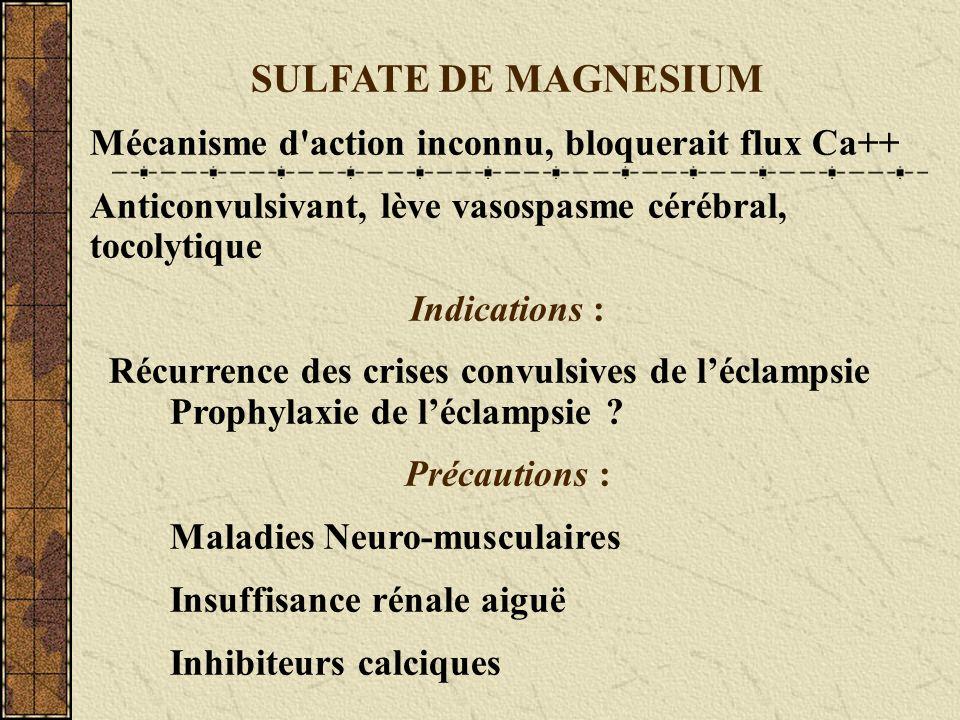 SULFATE DE MAGNESIUM Mécanisme d action inconnu, bloquerait flux Ca++