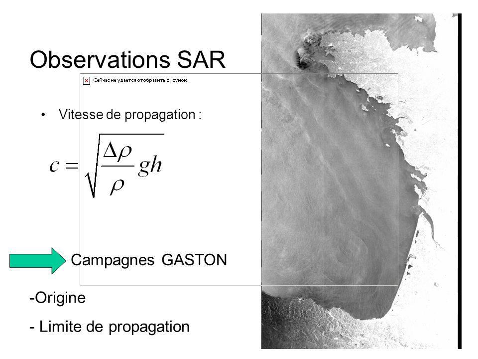 Observations SAR Campagnes GASTON Origine Limite de propagation
