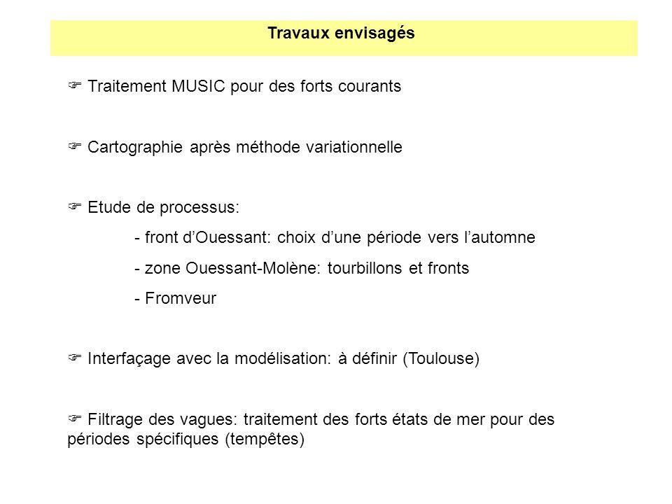 Travaux envisagés  Traitement MUSIC pour des forts courants.  Cartographie après méthode variationnelle.