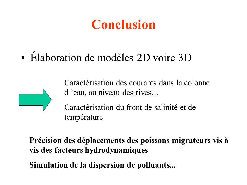 Conclusion Élaboration de modèles 2D voire 3D