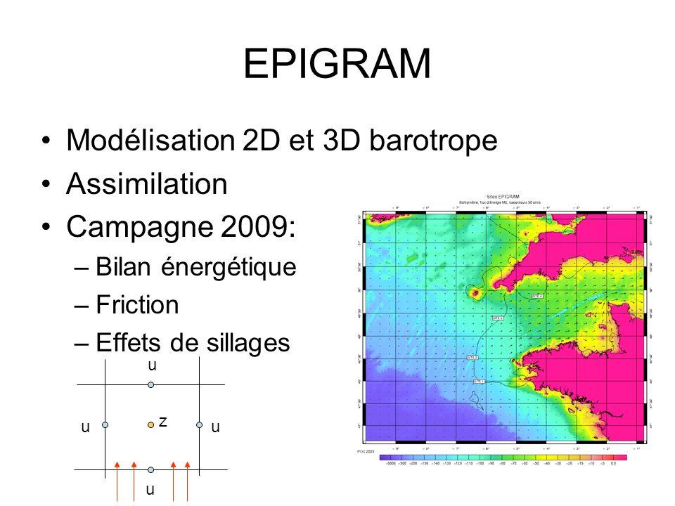 EPIGRAM Modélisation 2D et 3D barotrope Assimilation Campagne 2009: