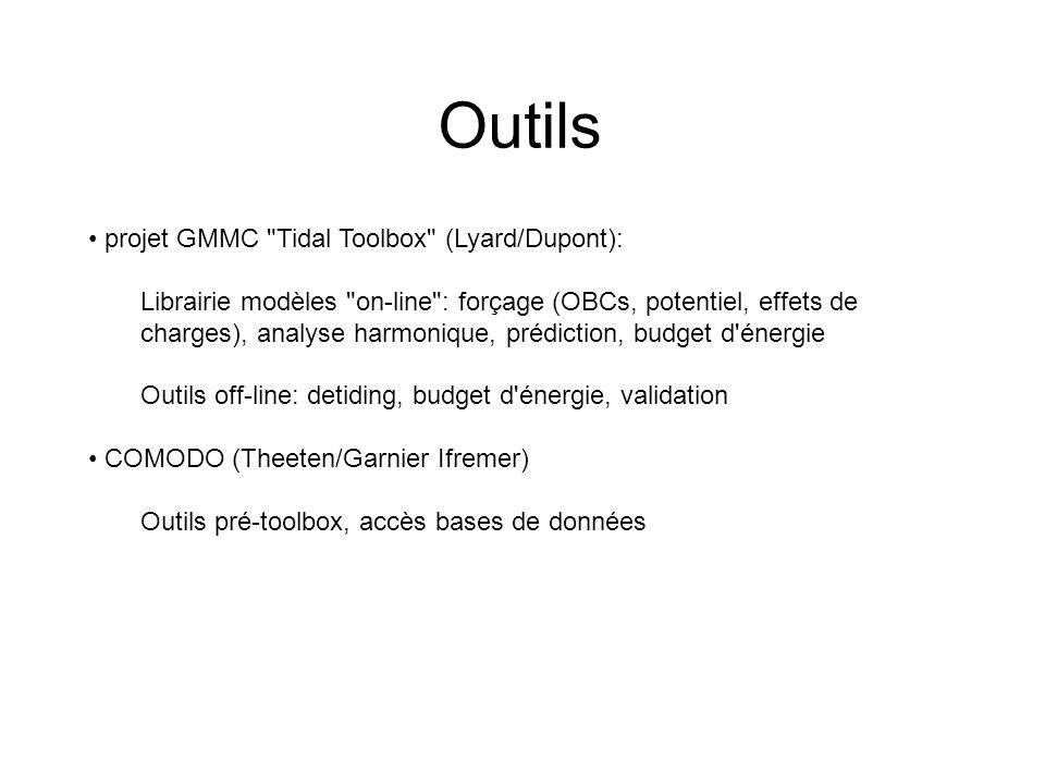 Outils projet GMMC Tidal Toolbox (Lyard/Dupont):