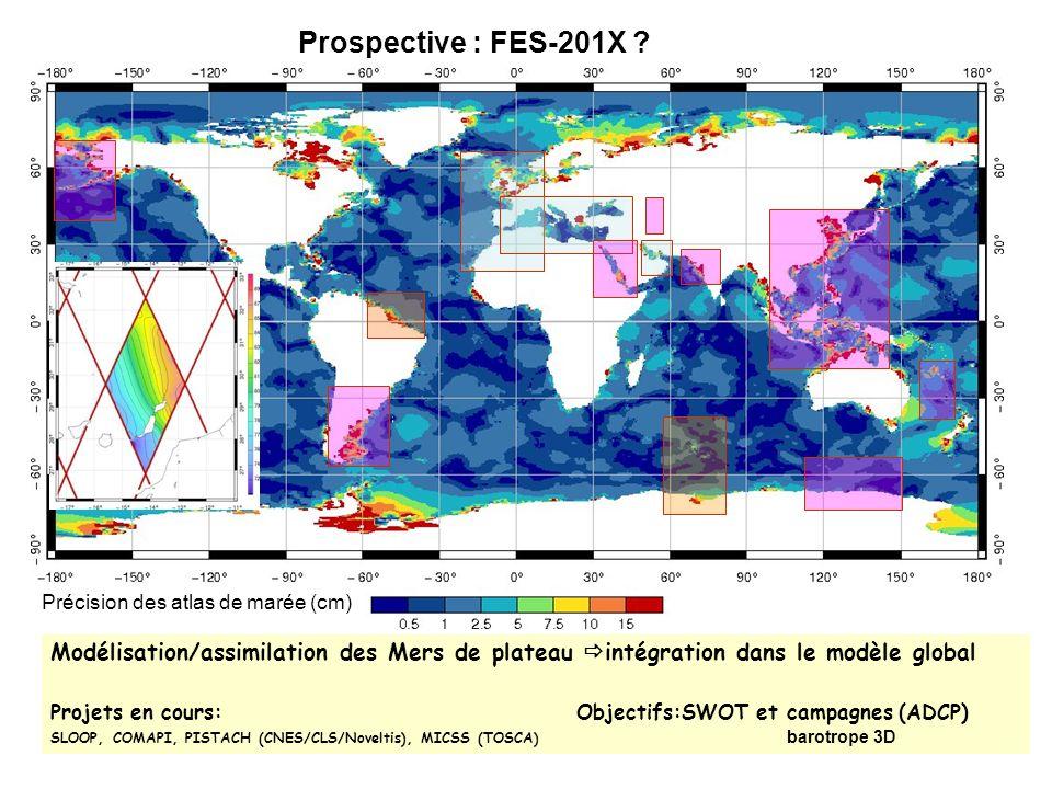 Prospective : FES-201X Précision des atlas de marée (cm) Modélisation/assimilation des Mers de plateau intégration dans le modèle global.
