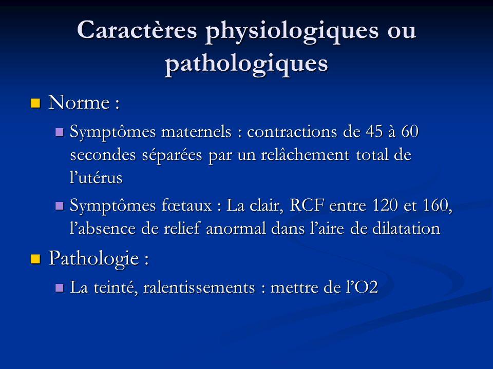 Caractères physiologiques ou pathologiques