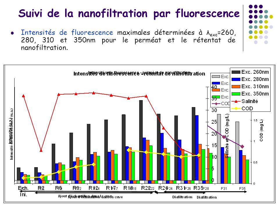 Suivi de la nanofiltration par fluorescence