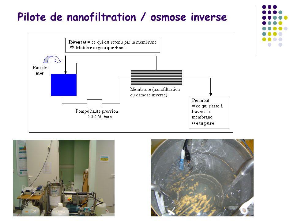Pilote de nanofiltration / osmose inverse