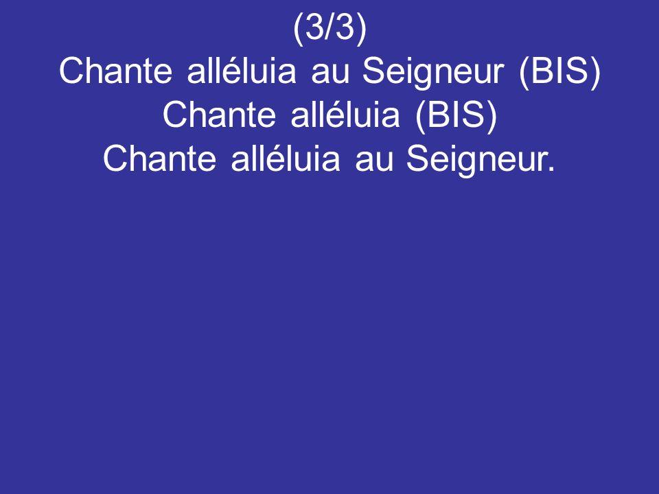 Chante alléluia au Seigneur (BIS) Chante alléluia (BIS)