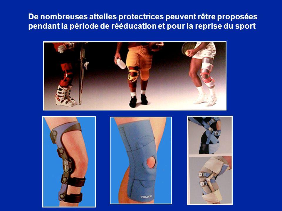 De nombreuses attelles protectrices peuvent rêtre proposées pendant la période de rééducation et pour la reprise du sport