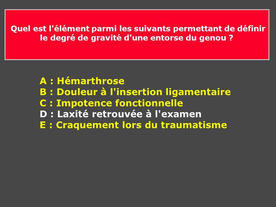 B : Douleur à l insertion ligamentaire C : Impotence fonctionnelle