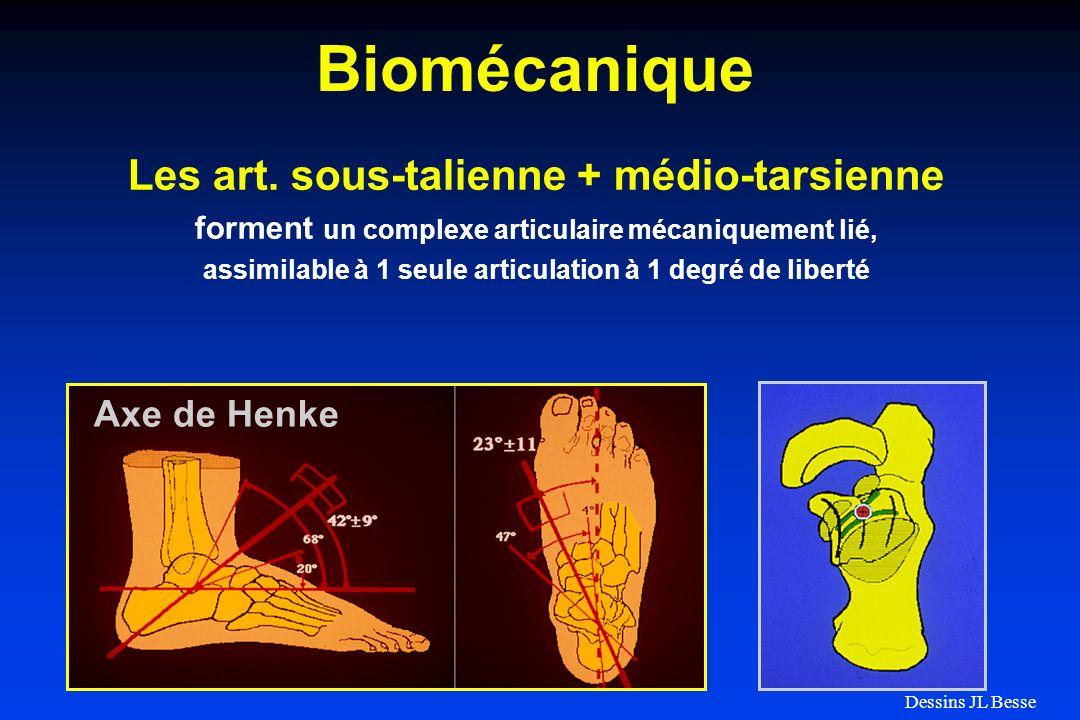 Biomécanique Les art. sous-talienne + médio-tarsienne Axe de Henke