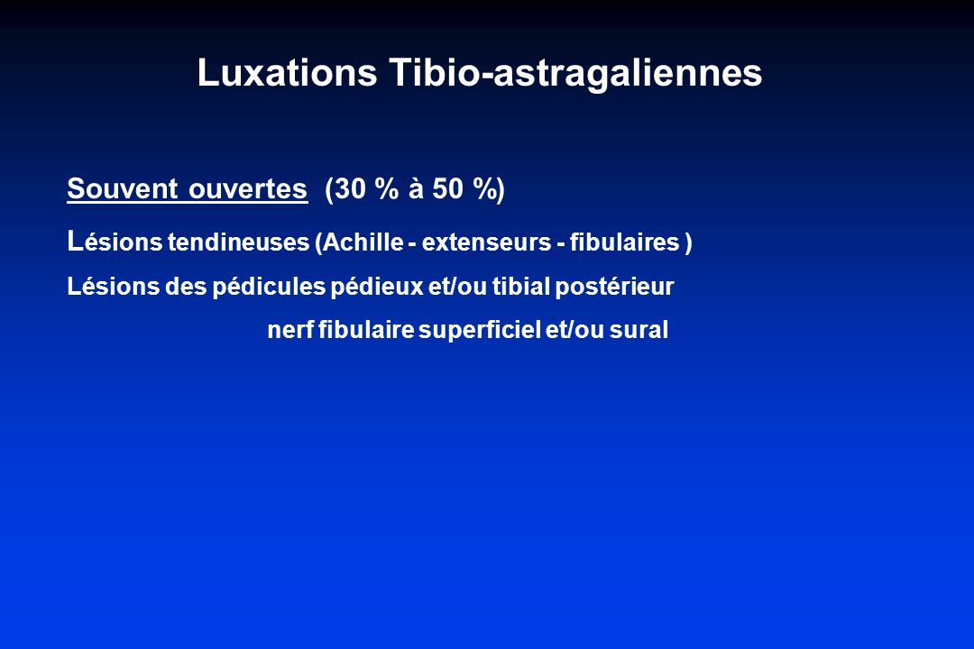 Luxations Tibio-astragaliennes