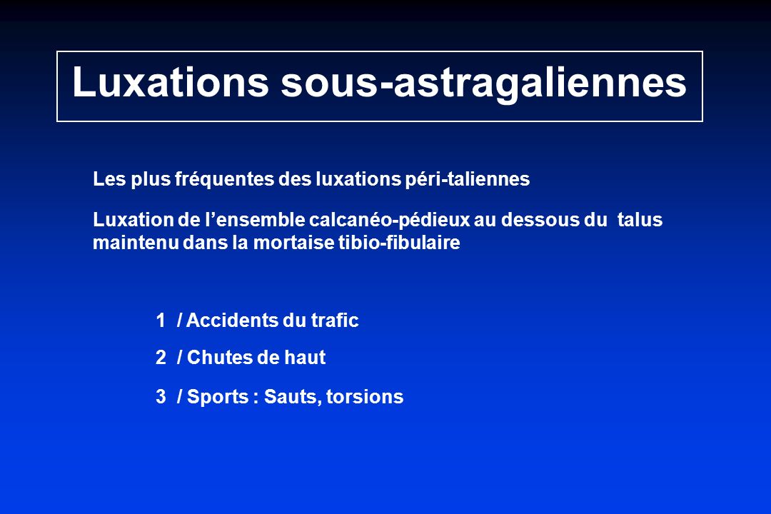 Luxations sous-astragaliennes