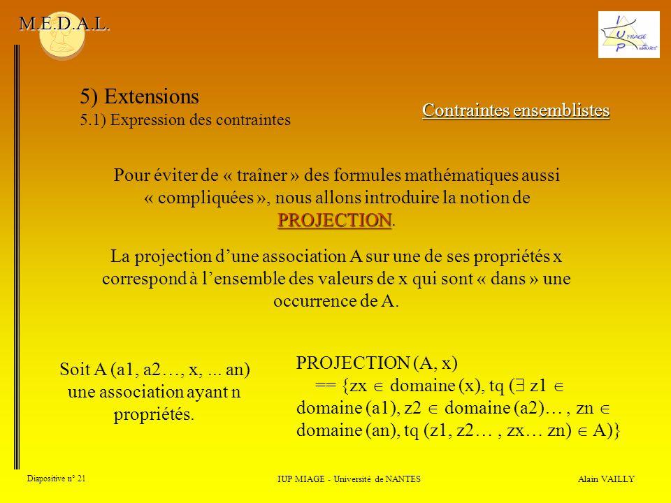 5) Extensions M.E.D.A.L. Contraintes ensemblistes