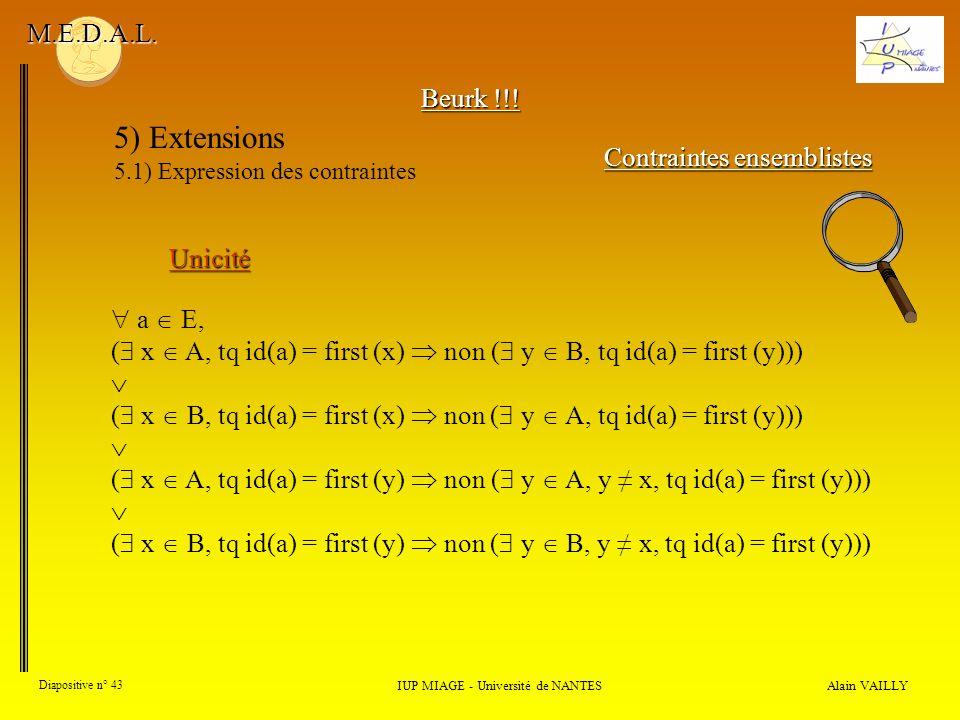 5) Extensions M.E.D.A.L. Beurk !!! Contraintes ensemblistes Unicité