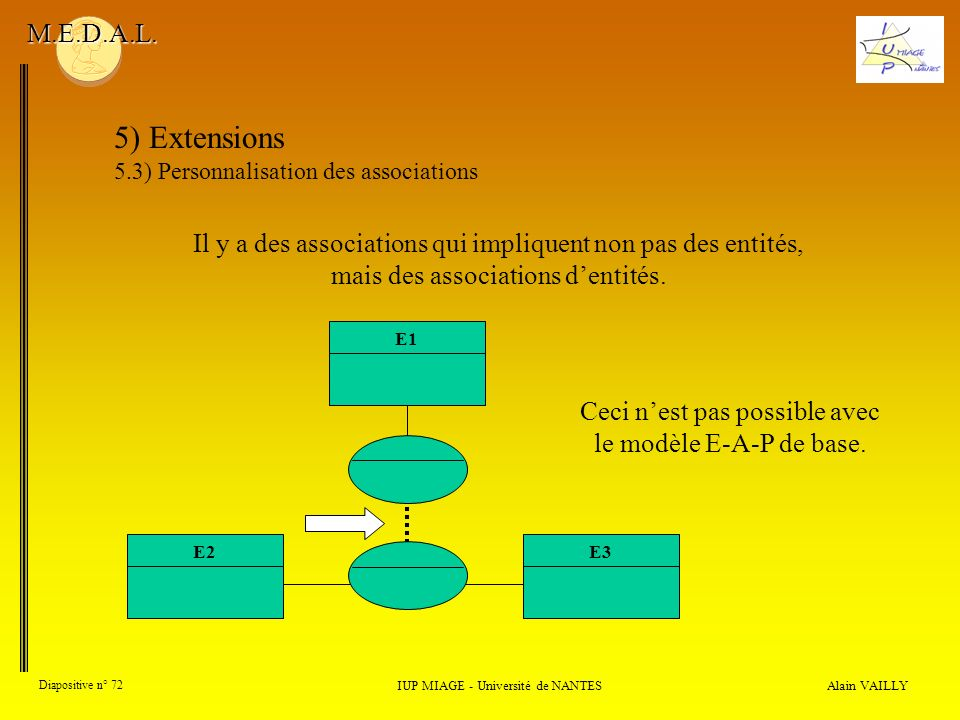 M.E.D.A.L. 5) Extensions. 5.3) Personnalisation des associations.